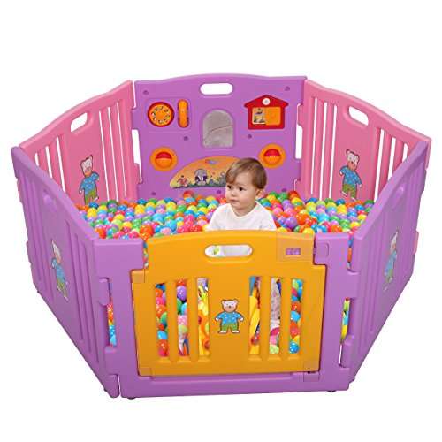 LAZYMOON Pink Baby Playpen Kids 6 Panel Safety Play Center Yard Home Indoor Outdoor Game from LAZYMOON