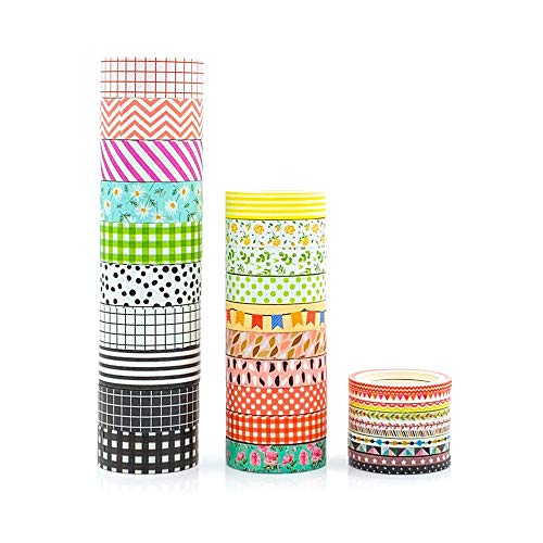 Planners Decoration Craft Supply 15mm x 7m Hot Pink  Red and Yellow Abstract pattern Mast\u00e9 Multi Stripe Japanese Washi Tape