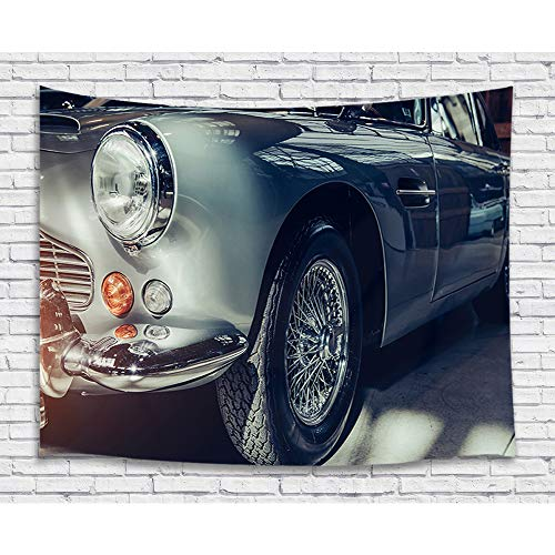 (Classic Car Decor Tapestry for Men, Vintage American Car Retro Art Boys Tapestries Wall Hanging for Bedroom Living Room College Dorm, TV Backdrop Wall Blankets 71X60 Inches)