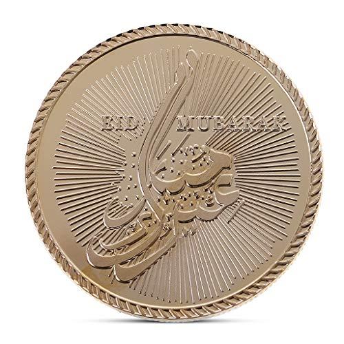 lehaha Eid al-Fitr, Gold Plated Eid Mubarak Commemorative Challenge Coin Collection Token Souvenir --4cm/1.57''(reference one yuan coin 2.5cm)