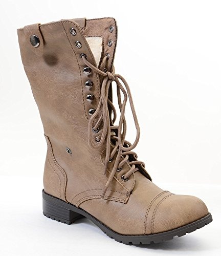 Fourever Fur Women's Boots Funky Combat Over Shearling A Fold Leather Vegan Lt Taupe 5XrXwqB