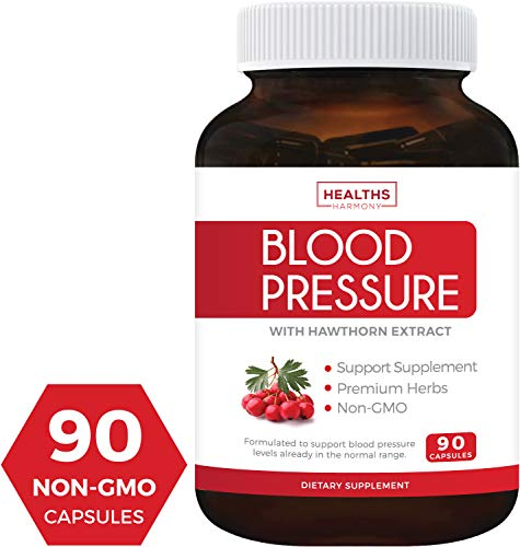 Blood Pressure Support Supplement (Non-GMO) - Premium Natural Herbs, Vitamins & Berries - High Dosage of Hawthorn Extract - Berry Lower Pills - 90 ()