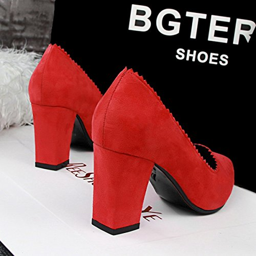 Women Pumps Red Faux Heel Plain jntworld Chunky Suede Toe Pointed Aw7qx8R