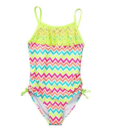 CharmLeaks Mädchen Einteiler Badeanzug Mehrfarbig Zick-Zack Muster 134-140