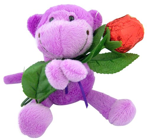 Hard to Find Unique Mother's Day Gift Idea 7 1/2 Plush Purple Monkey Holding Long Stem Red Foil Hollow Chocolate Candy Rose