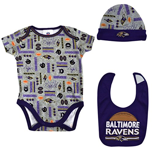 Raven Baby Doll ( Official National Football League Fan Shop Authentic NFL Baby 3-pc Body Suit Onesie, Cap and Bib Bundled Set (Baltimore Ravens, 0/3 months))