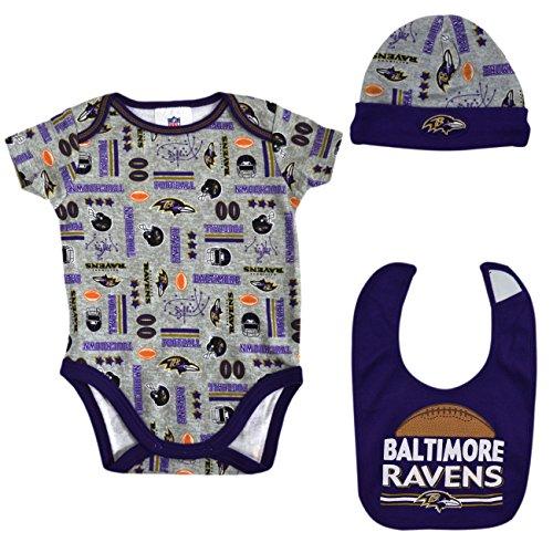 Raven Baby Doll (Official National Football League Fan Shop Authentic NFL Baby 3-pc Body Suit Onesie, Cap and Bib Bundled Set (Baltimore Ravens, 0/3 months))