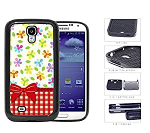 Flowers And Leaves With Red Plaid Pattern 2-Piece Dual Layer High Impact Rubber Silicone Cell Phone Case Samsung Galaxy S4 SIV I9500