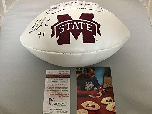 Autographed/Signed Fletcher Cox Mississippi State Bulldogs White Panel Logo Full Size FS Football JSA COA & PHOTO