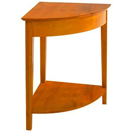 Amazon.com  Corner Entryway Table with Shelf Brown Wooden Triangle ... fedb448c8