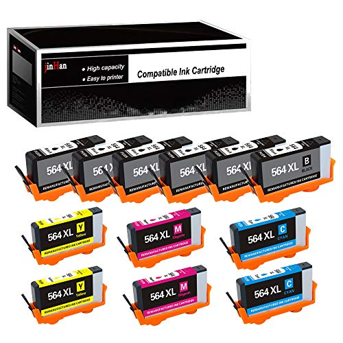 (JinHan Compatible Ink Cartridge Replacement for HP 564XL 564 XL (6BK & 2C/M/Y 12 Pack Combo) to use with Deskjet 3070A 3520 Officejet 4610 4620 4622 Photosmart 5510 5514 5520 6510 6510 6520 C6324)