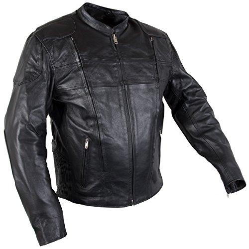 Mesh Tex Leather Jacket (Xelement XS-6229 Turbulent Mens Black Armored Leather Motorcycle Jacket - Large)