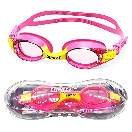 Kids Swimming Goggles,COPOZZ Child (Age 4-12) Waterproof Swim Goggles With Clear Vision Anti Fog UV Protection No Leak Soft Silicone Frame And Strap for Kid Boys Girls and Early - Kids Float Glasses