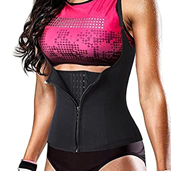 81c6dff106 Women s Hot Sweat Vest Waist Trainer 3 Hook + Zipper Slimming Neoprene Corset  Weight Loss Tummy