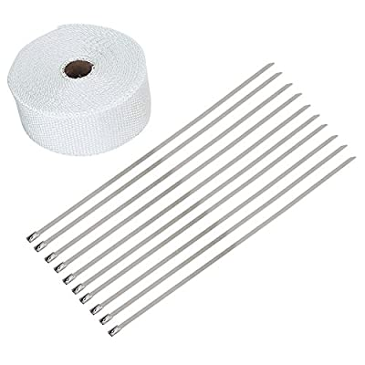 Exhaust Pipe Wrap,33FT White High Heat Insulation Exhaust Pipe Wrap Tape Cloth for Car Motorcycle: Automotive
