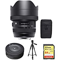 Sigma 12-24mm F4 DG HSM Art Nikon (205955) with Sigma USB Dock for Nikon Lens, Xit 60 Full Size Photo / Video Tripod & Lexar 64GB Professional 1000x SDHC/SDXC Class 10 Memory Card Up to 150 MB/s