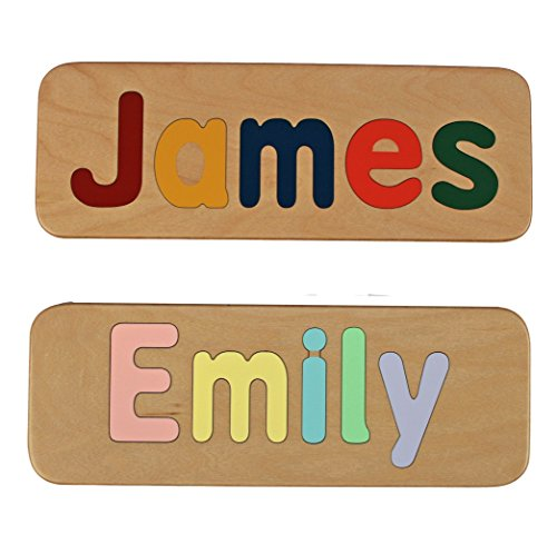 Name Puzzle – Raised Letters – Handmade Wooden Custom Personalized – First Birthday Gift – Educational Toy – Free Shipping