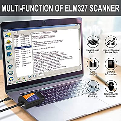 ELM327 OBD2 Scanner Ford USB Scan Tool FORScan OBD2 Adapter ELMconfig for Ford Mazda Cars and Light Trucks, with MS-CAN/HS-CAN Toggle Switch, Diagnosis on Windows Only: Automotive