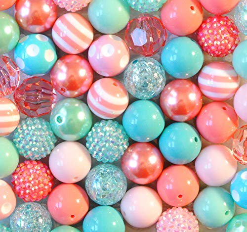 Summer Splash Aqua and Coral 20mm Bubblegum Bead 50 Piece Bulk Set from Boutique Craft Supplies