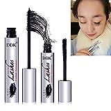 4D Mascara Cream,Cold Waterproof Mascara,Crazy-long Style Eye Black, Warm Water Washable Mascara Black, Fiber Lashes