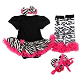 Baby Girls 4PCS Bodysuit Dress Sets (Black, S:3-6 Months)