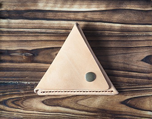 Leather Coin Pouch - triangle coin purse handmade, Coin Case, Wallet #Natural Nude