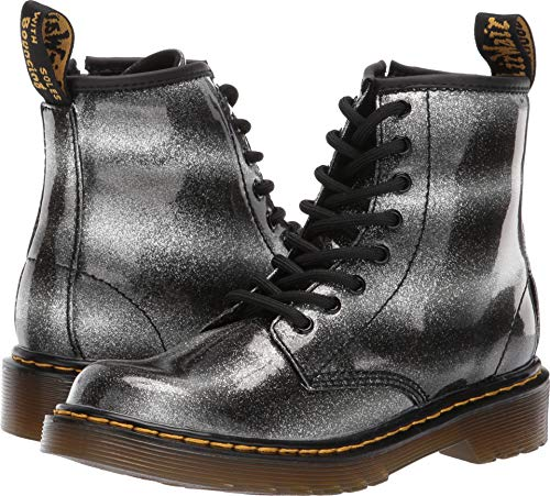Dr. Martens Kid's Collection Unisex 1460 Glitter Delaney Boot (Little Kid/Big Kid) Black/Silver Glitter Pu 2 M UK -