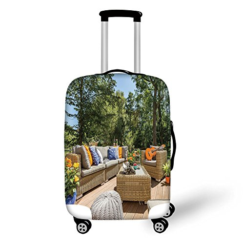 Cheap  Travel Luggage Cover Suitcase Protector,Patio Decor,Summer Town House Terrace Balcony with Trees..
