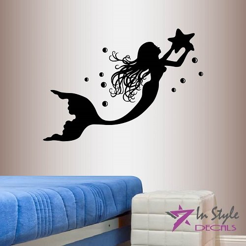 Wall Vinyl Decal Home Decor Art Sticker Mermaid with Starfish Girl Nymph Sea Ocean Bedroom Bathroom Living Room Removable Stylish Mural Unique Design