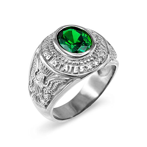 Army Solid Ring (May CZ Birthstone US Army Men's Ring in Solid 925 Sterling Silver (Size 6))