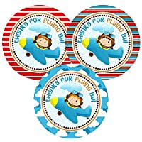 Airplane Pilot Thank You Sticker Labels for Boys - Kid Birthday Baby Shower Party Favors - Set of 30