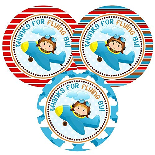 - Airplane Pilot Thank You Sticker Labels for Boys - Kid Birthday Baby Shower Party Favors - Set of 30