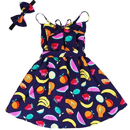 Girls Floral Ruffle Dress Kids Cold Shoulder Flutter Maxi Dress Party Summer Girl Clothes Sleeveless Boho Sundress Toddlers Beach Long Dress Fruit Print 01 4-5 Years -