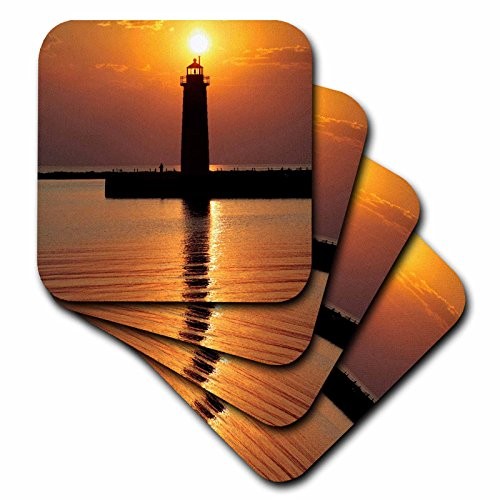 (3dRose CST_91212_1 Mi, Muskegon. Lighthouse on Lake Michigan-Us23 Rer0002-Ric Ergenbright-Soft Coasters, Set of 4)