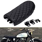 Triclicks Universal Motorcycle Retro Diamond Flat Brat Style Cafe Racer Seat for Honda CB CL Retro Yamaha SR XJ Suzuki GS (Black)