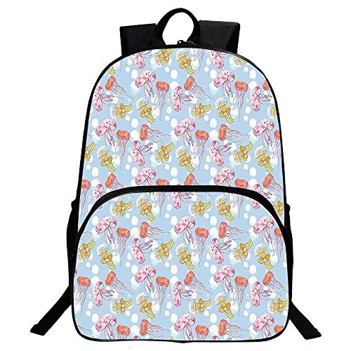 "Jellyfish Decor Beautiful School Backpack,Jellyfish Pattern Joyful Doodle Artwork of Undersea Life Summertime Ocean For classroom,11.8""L x 6.2""W x 15.7""H"