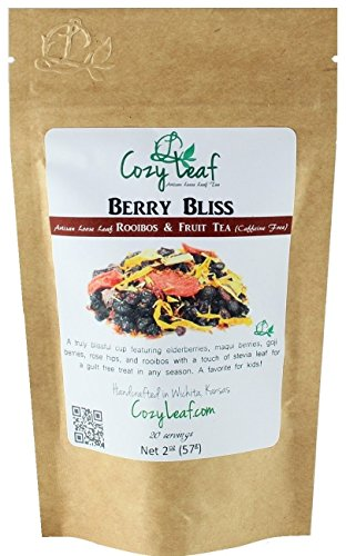 BERRY BLISS - Organic Artisan Loose Leaf Rooibos and Fruit Herbal Tea Blend - FORMULATED and BLENDED by Cozy Leaf in Wichita Kansas USA (Black Tea Organic Fruit)
