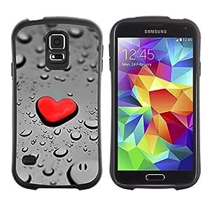 Be-Star Impreso Colorido Diseño Antichoque Caso Del iFace Primera Clase Tpu Carcasa Funda Case Cubierta Par Samsung Galaxy S5 SM-G900 ( Red Heart Drop Rain )