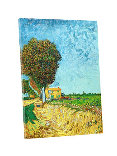 Niwo Art (TM) - A Lane near Arles, by Vincent van Gogh - Oil painting Reproductions - Giclee Canvas Prints Wall Art for Home Decor, Stretched and Framed Ready to Hang (16 x 20 x 1.5 Inch) (Canvas Arles)