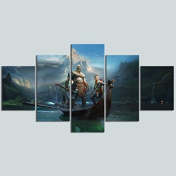 HIMFL 5 Paneles Juego de God of War Kratos P/óster HD Pictures Decorativo Pinturas para Sala de Estar Decoraci/ón Mural