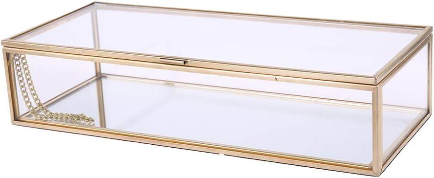VIccoo Caja de Anillo de Boda r/ústica Soporte de Almacenamiento geom/étrico Decoraci/ón de joyer/ía de Vidrio Transparente