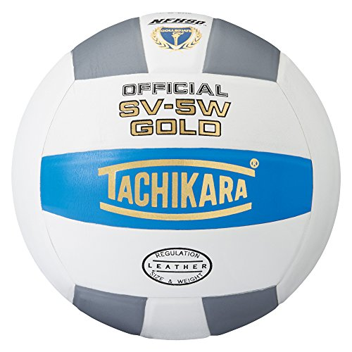 Tachikara Sv5W Gold Competition Premium Leather Volleyball (College Blue/White/Silver Gray) ()