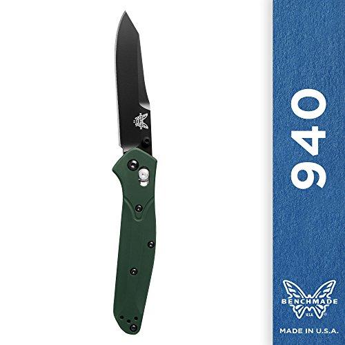 Benchmade Knife 940BK Osborne Black Blade Green Handle