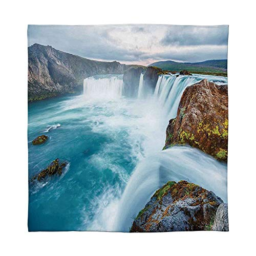 (TecBillion Ultra-Soft Flannel Blanket,Natural Waterfall Decor,for Bed Couch Chair,Size Throw/Twin/Queen/King,Icelandic Waterfall Dramatic Landscapes Picture Sunset View)