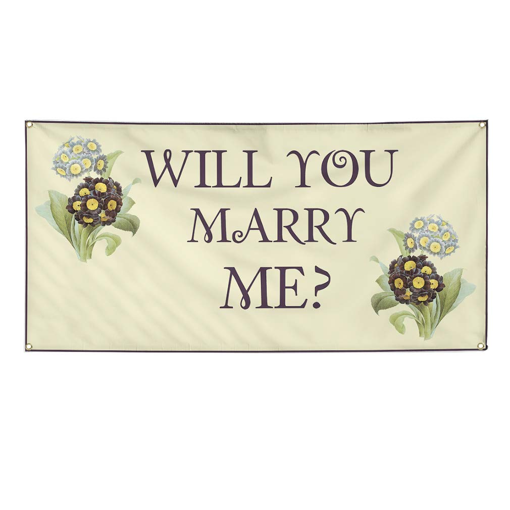 Vinyl Banner Sign Will You Marry Me Brown Purple Lifestyle Marketing Advertising Brown 32inx80in 6 Grommets Set of 2 Multiple Sizes Available