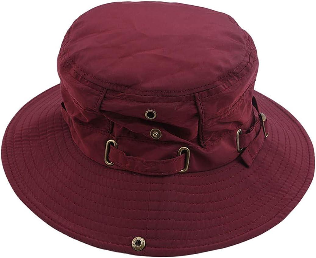 GOMYIE Unisex Solid Color Lightweight Cotton Bucket Hat Wide-Brimmed Sunscreen Cap