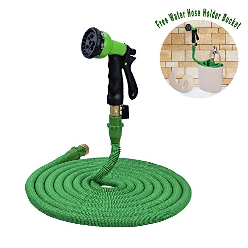 2017 50ft Garden Hose with Water Hose Holder Bucket, Flexible Expandable Garden Hose, Latex Inner Tube and Extra Strength Fabric, 8 Set Hose Nozzle and High Pressure, Green
