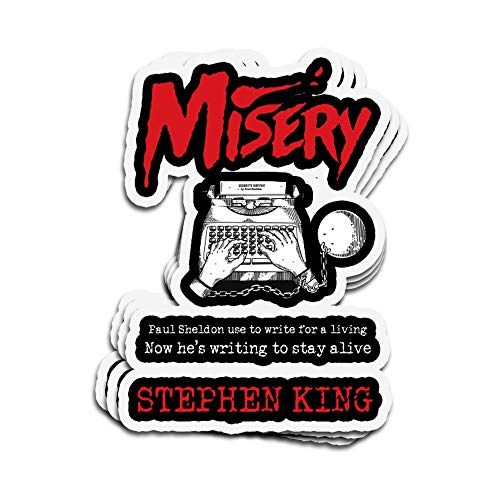 Jarky Love 3 PCs Stickers Misery Cover Tribute Stephen King 4 × 3 Inch Die-Cut Wall Decals for Laptop Window