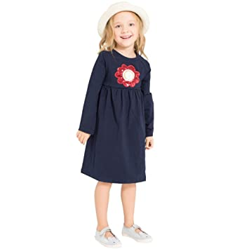 b0dcd1863145 Amazon.com  Children Kids Girls Spring Fall Dress Long Sleeves Flower Solid  Cotton Casual Dresses Daily Mini Dress (age 6-7years old