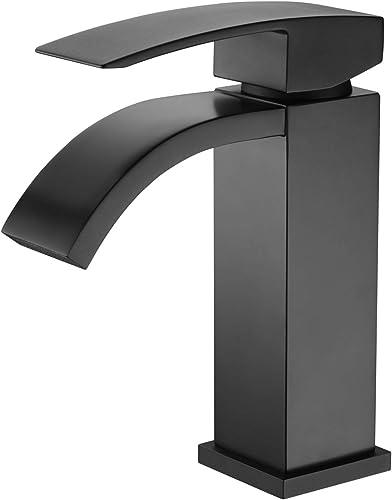 Matte Black Bathroom Faucet Waterfall, sumerain